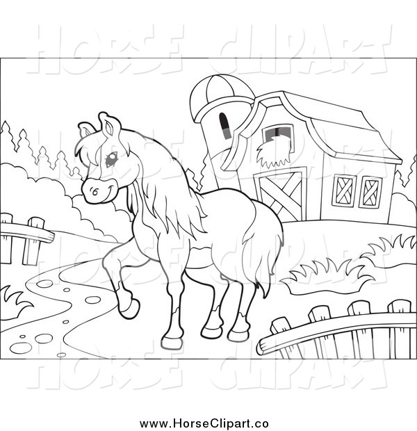 Clip Art of a Black and White Farm Horse Walking in a Pasture