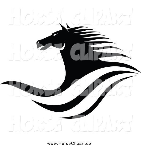 Clip Art of a Black and White Horse Head and Waves