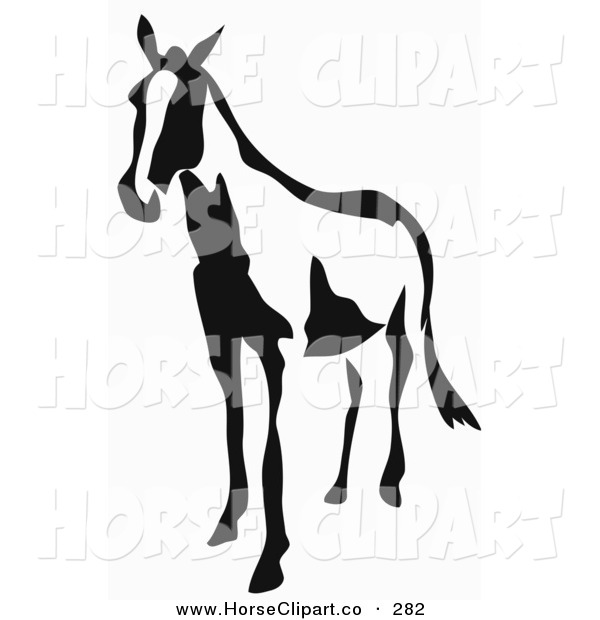 Clip Art of a Black and White Horse in Paintbrush Stroke Style on a White Background
