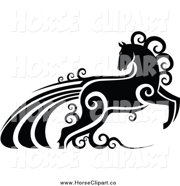 Clip Art of a Black and White Horse with Swirls
