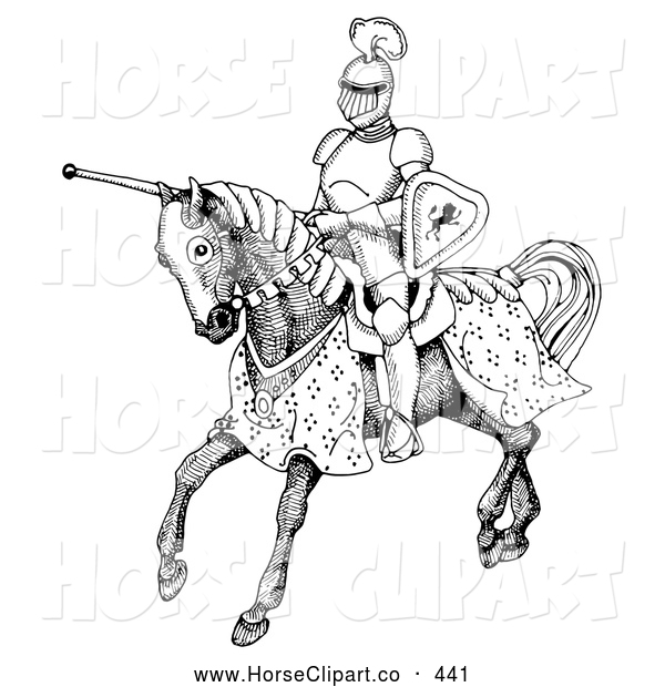 Clip Art of a Black and White Jousting Knight Riding on His Steed, on White
