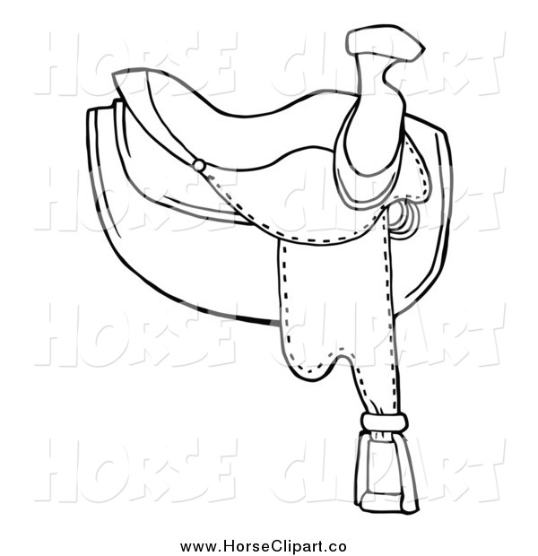 Clip Art of a Black and White Leather Horse Saddle