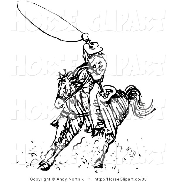 Clip Art of a Black and White Line Outline Design of a Cowboy Swirling a Lasso While Riding on Horseback