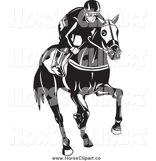 Clip Art of a Black and White Male Jockey on a Horse
