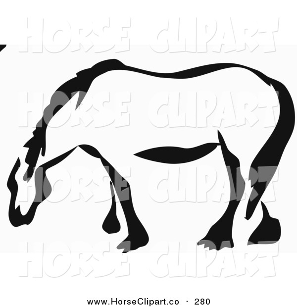 Clip Art of a Black and White Paintbrush Stroke Styled Draft Horse Looking to the Left