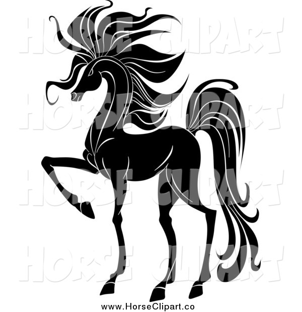 Clip Art of a Black and White Prancing Horse