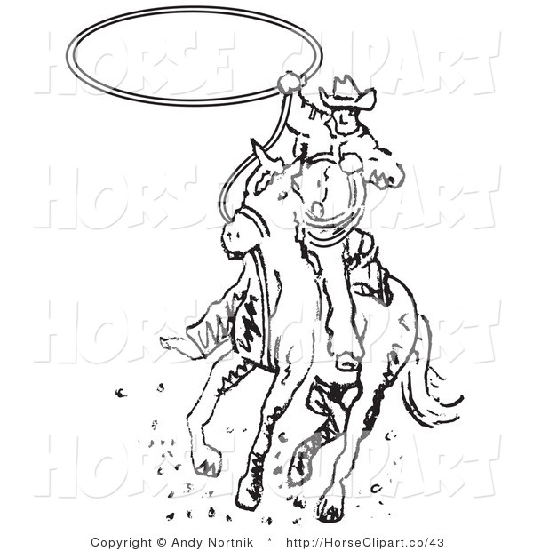 Clip Art of a Black and White Roper Cowboy Man on a Horse Swinging a Lasso to Catch a Cow or Horse
