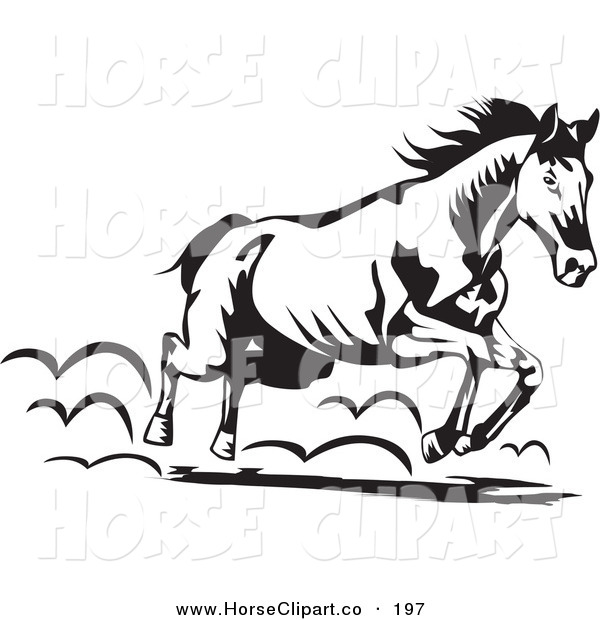 Clip Art of a Black and White Running Horse Moving to the Right