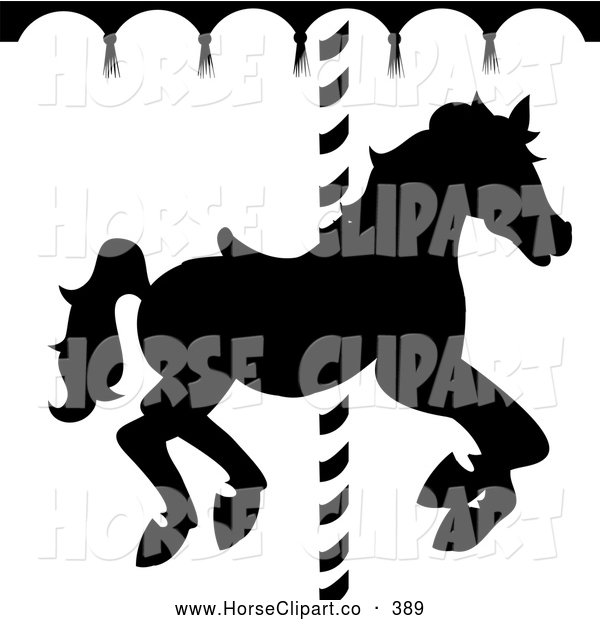 Clip Art of a Black and White Silhouetted Carousel Horse Going Around