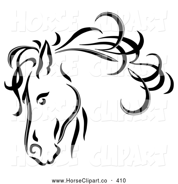Clip Art of a Black Line Art Sketched Horse Head with a Blowing Mane