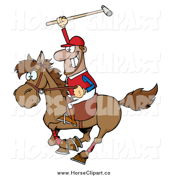 Clip Art of a Black Male Polo Player Holding up a Stick