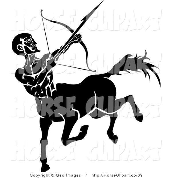 Clip Art of a Black Silhouette of a Sagittarius Centaur of the Zodiac Shooting an Arrow with a Bow
