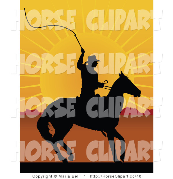 Clip Art of a Black Silhouetted Cowboy on Horseback, Preparing to Swing a Whip at Sunrise