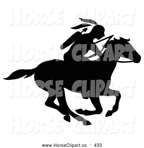 Clip Art of a Black Silhouetted Native American with a Bow and Arrows, Riding on a Running Horse to the Right