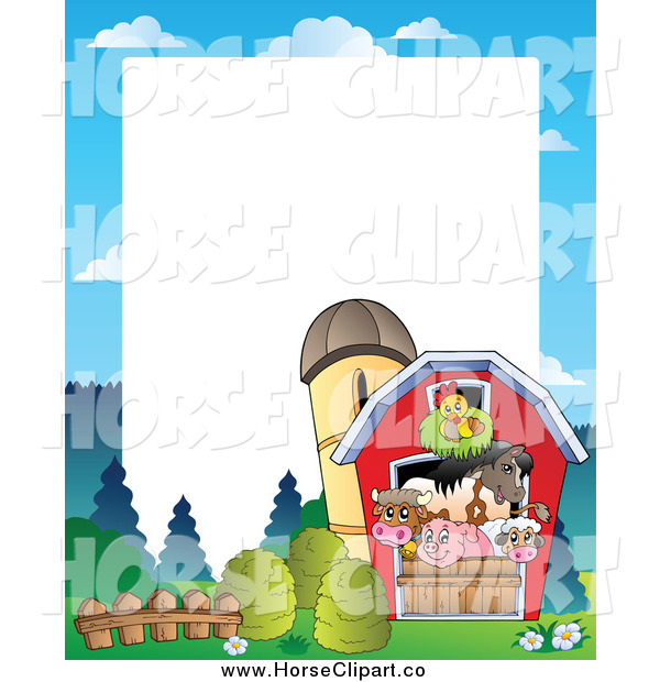 Clip Art of a Border of Farm Animals in a Barn
