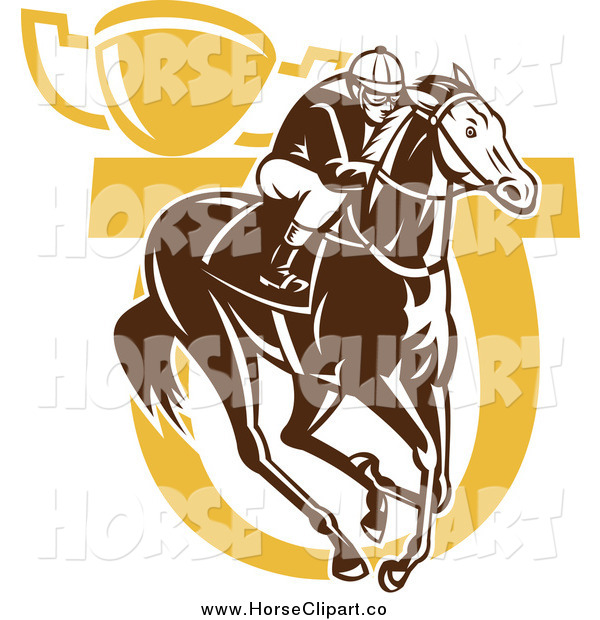 Clip Art of a Brown and Yellow Horse Jockey Horseshoe and Trophy