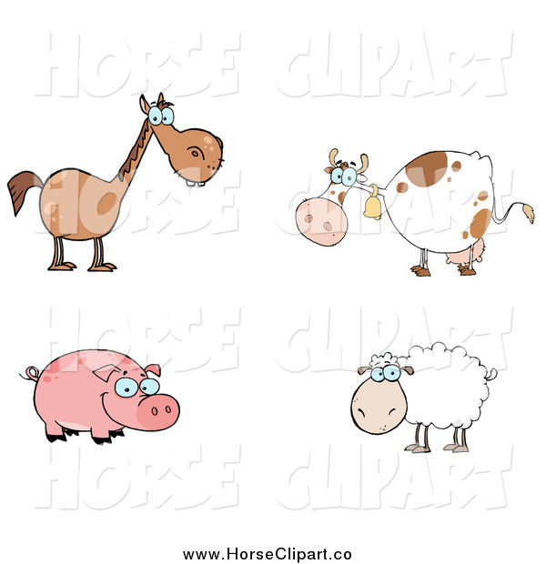 Clip Art of a Brown Horse, Cow, Pig and Sheep