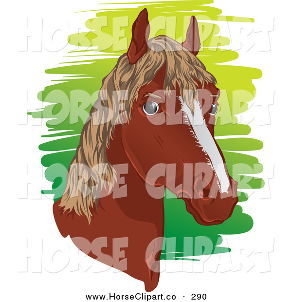 Clip Art of a Brown Horse Head with a Short Mane Facing Right
