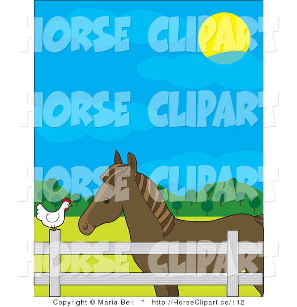 Clip Art of a Brown Horse in a Fenced Pasture, Talking to a White Chicken on a Farm on a Sunny Day