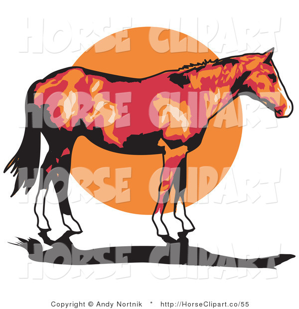 Clip Art of a Brown Horse with White Feet and a Black Tail Standing Against a Sunset