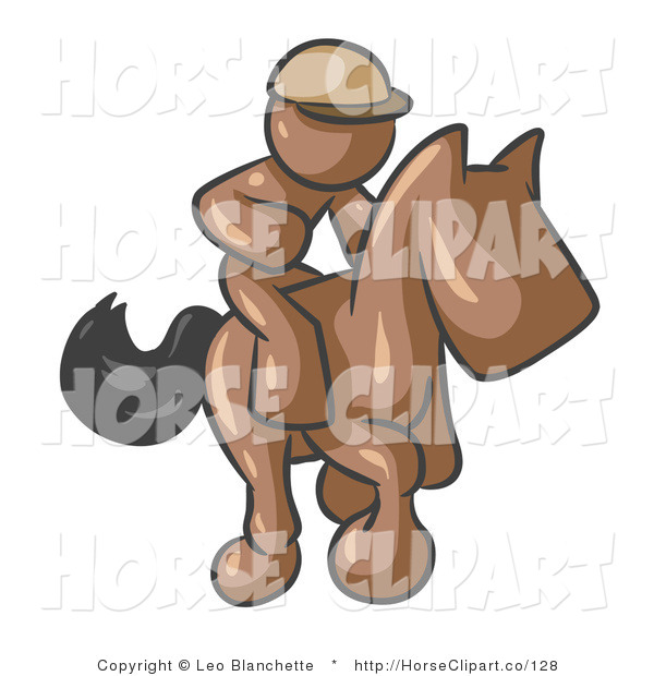 Clip Art of a Brown Man, a Jockey, Riding on a Matching Race Horse and Racing in a Derby