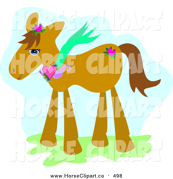 Clip Art of a Brown Pony Wearing a Heart Necklace