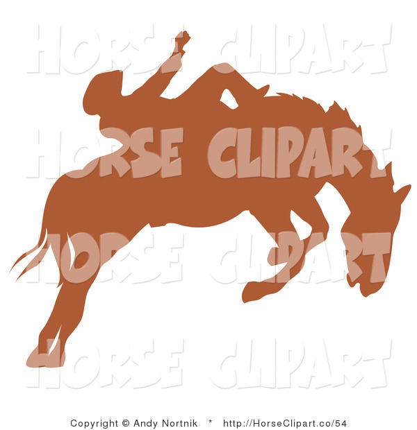 Clip Art of a Brown Silhouette of a Cowboy Riding a Bucking Bronco Horse in a Rodeo