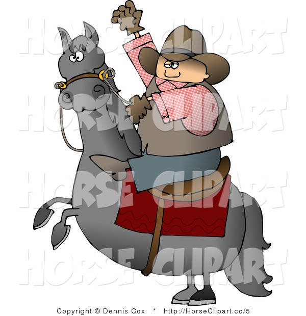 Clip Art of a Bucking Bronco and Cowboy