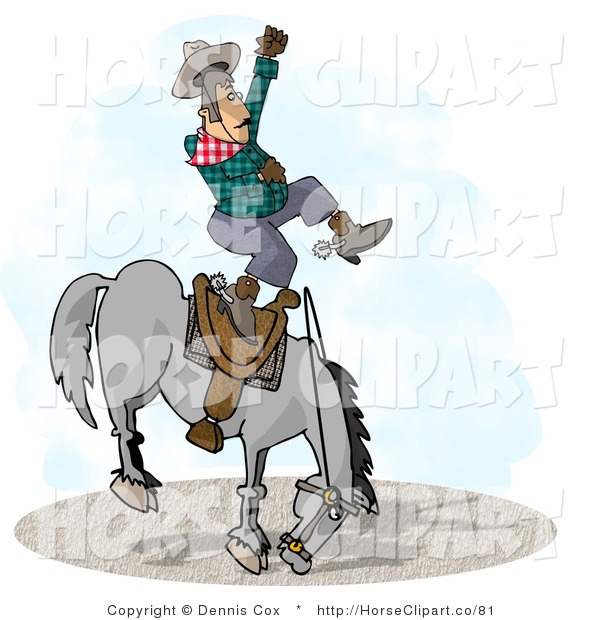Clip Art of a Bucking Bronco Riding Cowboy at a Rodeo Competition
