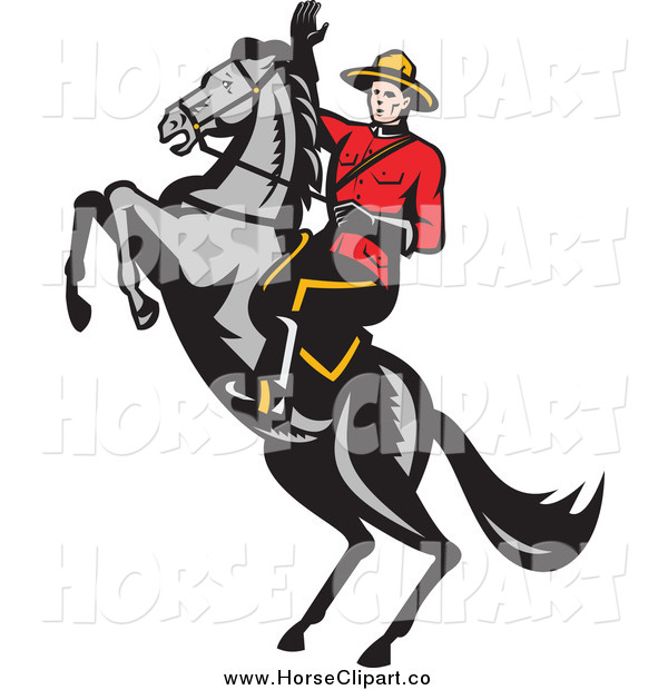 Clip Art of a Canadian Mountie and a Rearing Horse