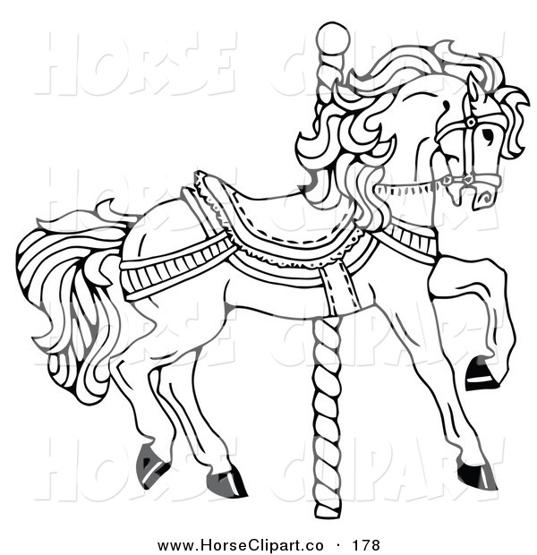 Clip art of a carousel horse facing right on a spiral for Carousel horse coloring page