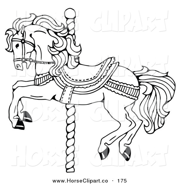 Clip Art of a Carousel Horse on a Spiraling Pole on a White Background