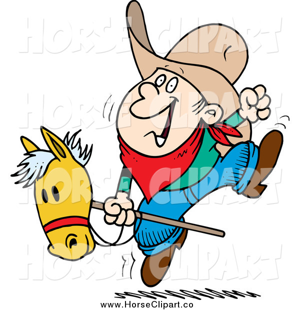 Clip Art of a Cartoon White Boy Riding a Stick Pony