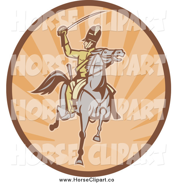 Clip Art of a Cavalry Soldier on Horseback in an Oval of Rays
