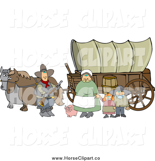 Clip Art of a Chubby Pioneer Family and Pig in Front of Two Horses Pulling a Covered Wagon Along the Oregon Trai