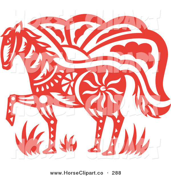Clip Art of a ClipRed Oriental Horse Design on White