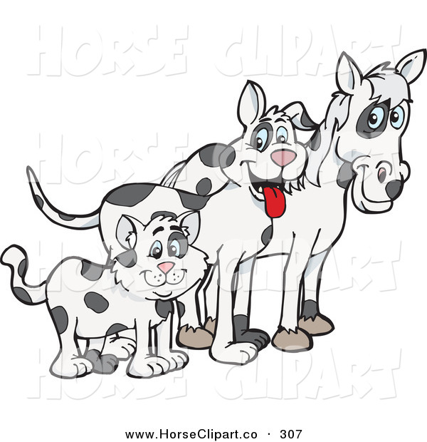 Clip Art of a Cloned Matching Cat, Dog and Horse Looking Right