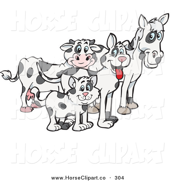 Clip Art of a Cloned Matching Cat, Dog, Horse and Cow and Looking Right