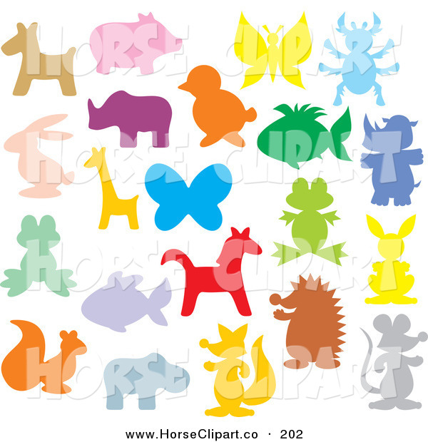 Clip Art of a Colorful Animal Silhouettes on Solid White