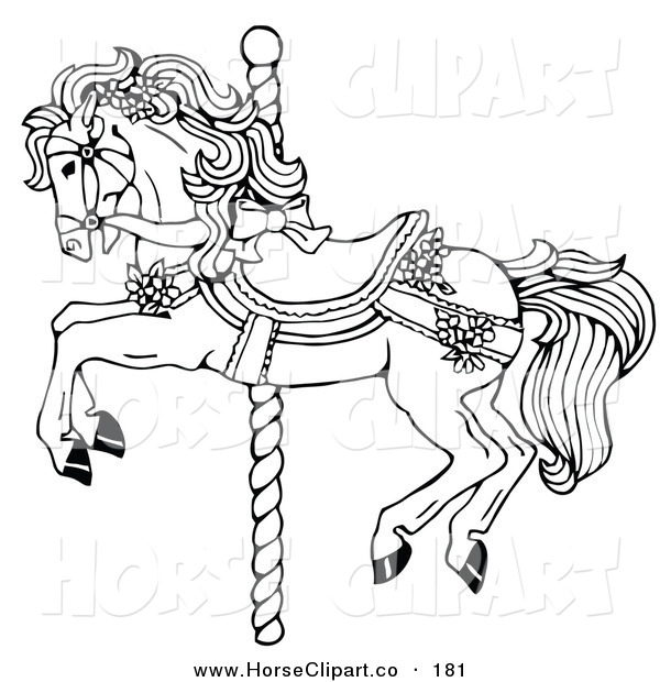 Clip Art Of A Coloring Page Of A Carousel Horse Decorated