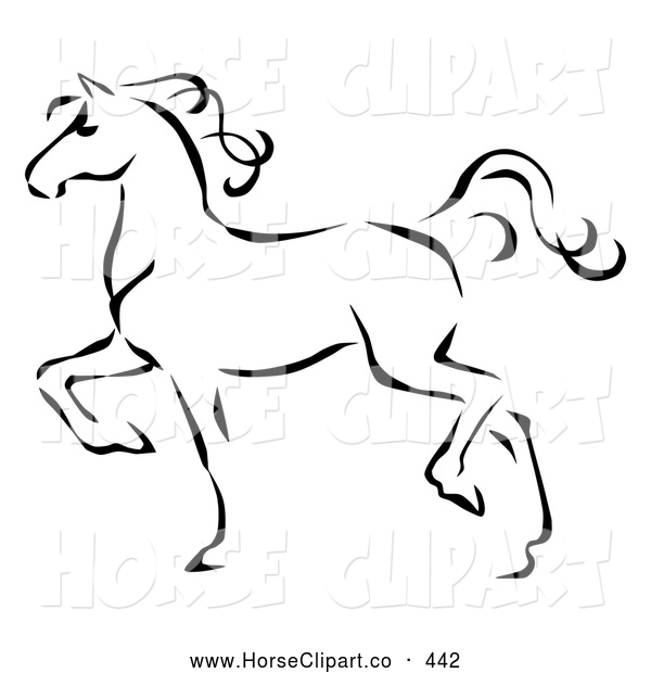 Clip Art of a Coloring Page of a Graceful Black Line Art Trotting Horse Profile
