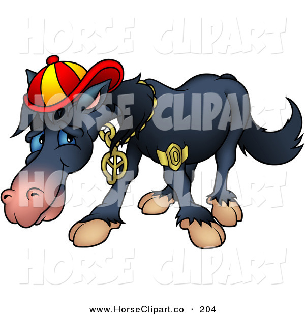 Clip Art of a Cool, but Shy Black Horse Wearing Bling and a Hat
