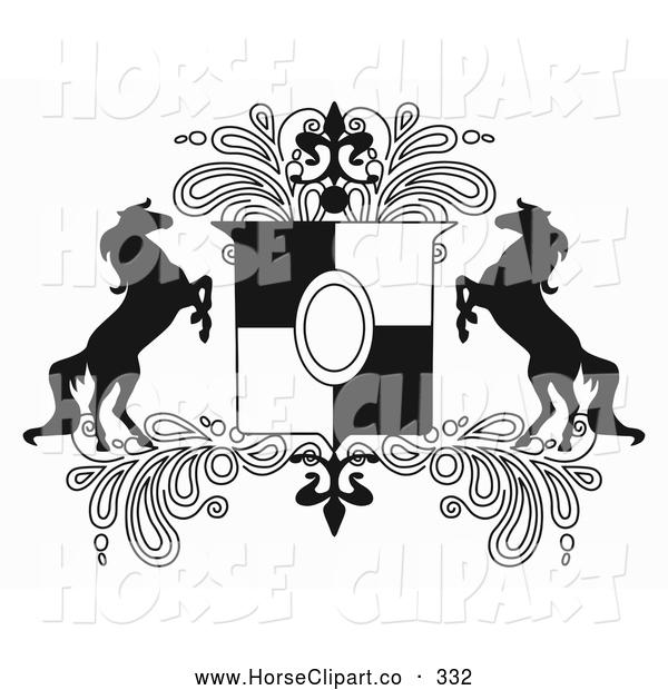 Clip Art of a Couple of Black and White Rearing Horse Crest with Paisleys