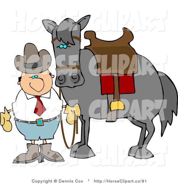 Clip Art of a Cowboy by His Saddled Horse