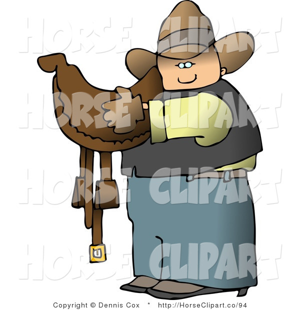 Clip Art of a Cowboy Carrying a Leather Horse Saddle