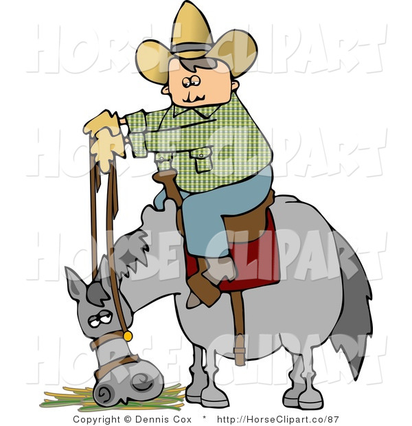 Clip Art of a Cowboy Letting His Horse Eat Hay