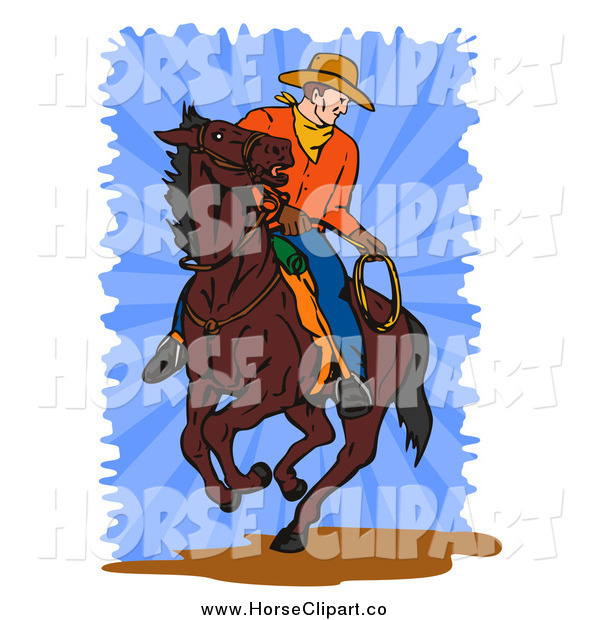 Clip Art of a Cowboy on a Horse