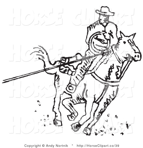 Clip Art of a Cowboy on Horseback Roping Something with a Lasso on a White Background