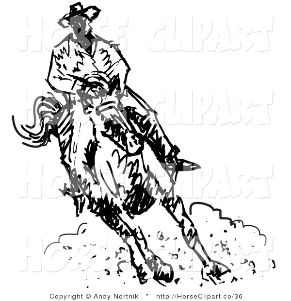 Clip Art of a Cowboy Riding a Horse and Kicking up Dust