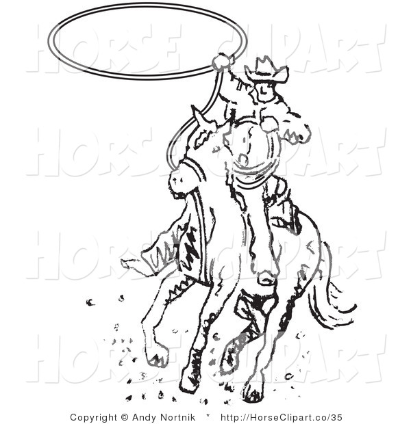 Clip Art of a Cowboy Riding a Horse and Whirling a Lasso up over ...